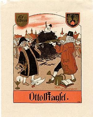 """Exlibris """"Otto Kaysel - Der Verteidiger"""", Klischee,: Ade, Mathilde (1877-1953,"""