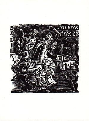 """O-Holzschn., """"Exlibris Jocelyn Mercier"""", 11,4 x 8,5: Saez, Julio Fernández"""