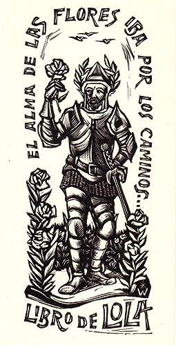 """O-Holzschn., Exlibris """"Libro de Lola El Alma: Wolf, Remo (Trient"""