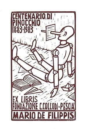 "O-Linolschnitt, braun ""Centenario di Pinocchio 1883-1983 Ex: Constantini, Costante (geb."