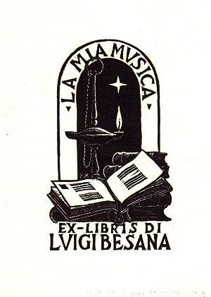 """O-Holzschn. """"Ex-Libris Di Luigi Besana - La: Morbiducci, Publio (Rom"""