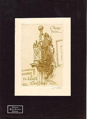 """O-Radierung """"Ex-Libris de Constance Titz 1914 L'Heure: Titz, Louis (1859-1932,"""