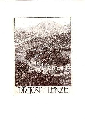 """O-Rad., Exlibris """"Dr. Josef Lenze"""", ca. 11,8: Wedepohl, Gerhard (Schönbeck"""