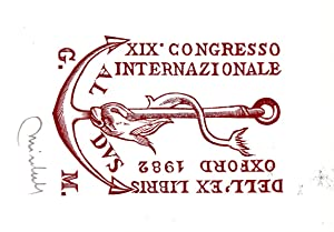 "O-Holzstich X2, rot-braun, ""Exlibris XIX. Congresso Internazionale: Mirabella, Dr. Giuseppe,"