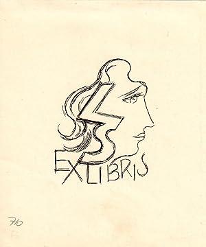"""Klischee """"LS Ex Libris"""", 12,6 x 10,5: Fingesten, Michel ("""