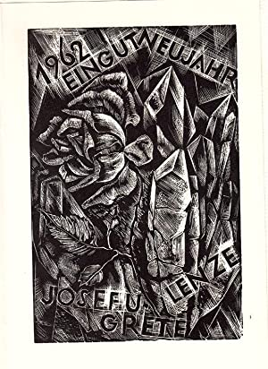 """O-Holzstich, PF """"1962 Ein gut Neujahr Josef: Schulze, Hans (1904-1982,"""