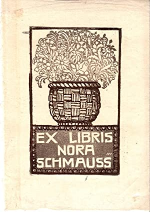 """O-Linolschnitt (zweifarbig) """"Ex Libris Nora Schmaus"""", 21: Kunst, Adolf (Regensburg"""