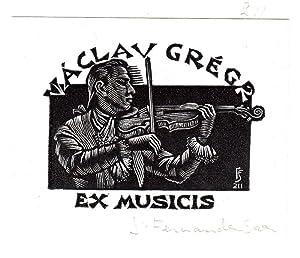 """O-Holzschn., """"Exlibris Václav Grégr Ex Musicis"""", ca.: Saez, Julio Fernández"""