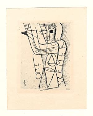"""O-Radierung/Kaltnadel (?) """"Leo Szemere"""", ca. 6,4 x: Vogenauer, Ernst Rudolf"""