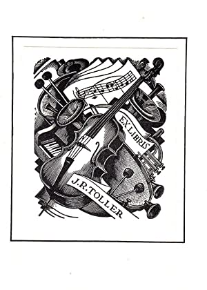"""Klischee """"Ex libris J.R. Toller"""", 8,2 x: Mackley, George (1900-1983."""