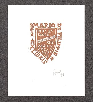 "O-Farbholzschnitt, ""Ex Libris Mario de Filippis Piu: Wolf, Remo (1912-2009,"