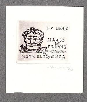 """O-Radierung, """"Ex Libris Mario de Filippis Muta: Wolf, Remo (1912-2009,"""