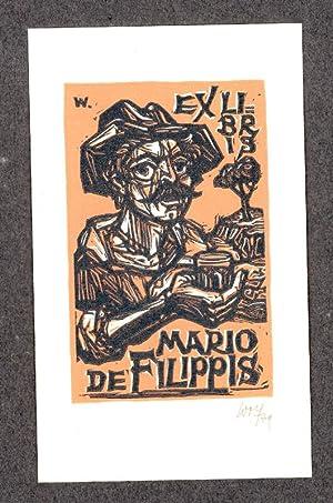 "O-Farbholzschnitt, ""Ex Libris Mario De Filippis"", ca.: Wolf, Remo (1912-2009,"