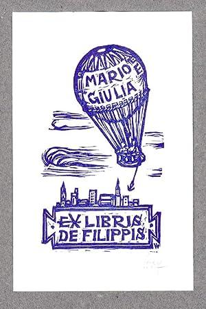 """O-Farbholzschnitt, """"Ex Libris De Filippis Mario e: Wolf, Remo (1912-2009,"""