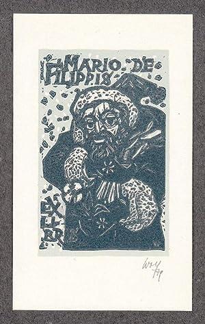 "O-Farbholzschnitt, ""Ex Libris Mario de Filippis "",: Wolf, Remo (1912-2009,"