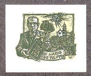 """O-Farbholzschnitt, """"Ex Libris Mario de Filippis Ciritro: Wolf, Remo (1912-2009,"""