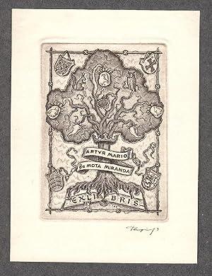 "O-Kupferstich C2 ""Exlibris Artur Mario da Mota: Tempinszky, Istvan (ungar."