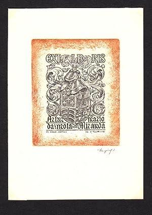 """O-Kupferstich C2, (mit farbiger Umrahmung) """"Exlibris Artur: Tempinszky, Istvan (ungar."""