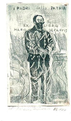"O-Radierung, grünlich, ""Ex Libris Mario Filippis -: Piccardo, Giuseppe Marco"