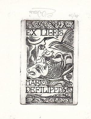 """O-Radierung """"Ex Libris Mario Filippis"""", ca. 9: Viviani, E. (italien."""