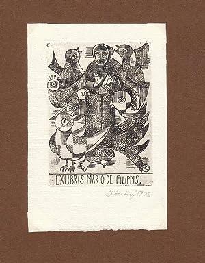 "O-Radierung, ""Ex Libris Mario de Filippis"", ca.: Koutný, Alois (geb."