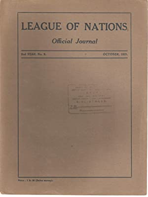 League of Nations Official Journal / Societe des Nations Journal Officiel 2nd year no. 8 ...