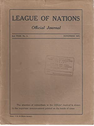League of Nations Official Journal / Societe des Nations Journal Officiel 2nd Year No. 9 ...