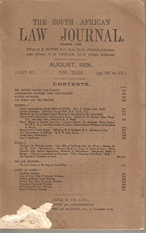 The South African Law Journal August 1926: Howes, R B (ed)