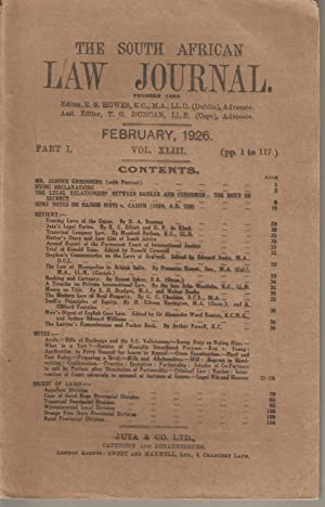 The South African Law Journal February 1926: Howes, R B (ed)