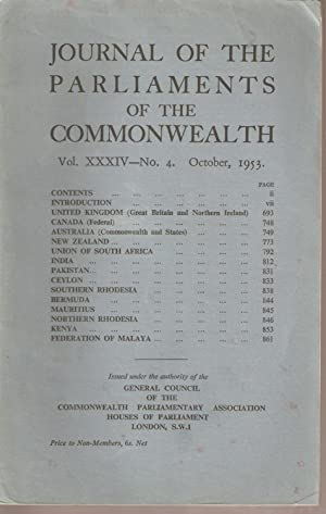 Journal of the Parliaments of the Commonwealth Vol. XXXIV No. 4 October 1953: Commonwealth ...