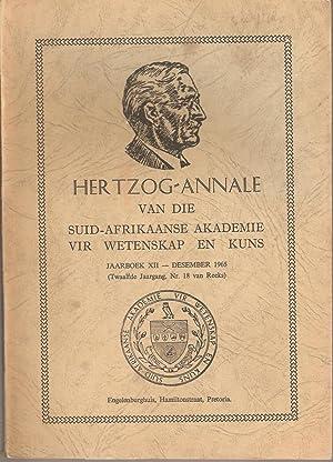 Hertzog-Annale van die Suid-Afrikaanse Akademie vir Wetenskap en Kuns Jaarboek XII Desember 1965 Nr...