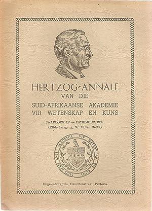 Hertzog-Annale van die Suid-Afrikaanse Akademie vir Wetenskap en Kuns Jaarboek IX Desember 1962 Nr....