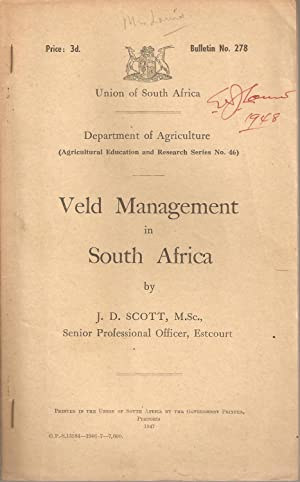 Veld Management Investigations at the School of Agriculture, Potchefstroom. Preliminary Report.: ...