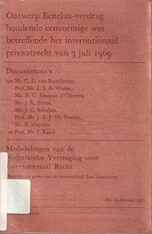 Ontwerp Benelux-verdrag houdende eenvormige wet betreffende het internationaal privaatrecht van 3 ...