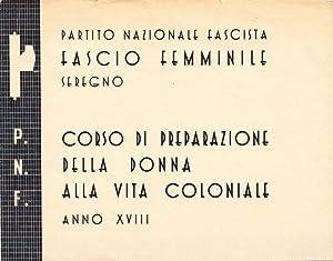 Partito Nazionale Fascista Fascio Femminile Seregno. Corso