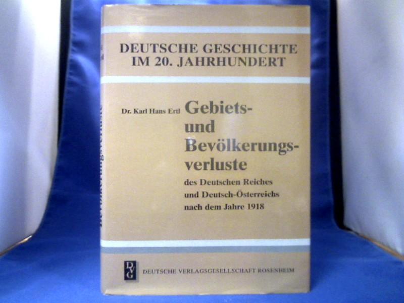 Gebiets- und Bevölkerungsverluste des Deutschen Reiches und: Ertl, Karl Hans.