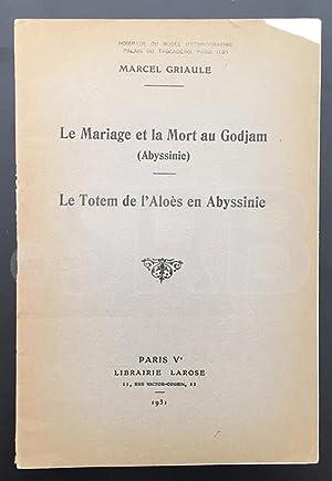 Le Mariage et la Mort au Godjam: GRIAULE (M.).