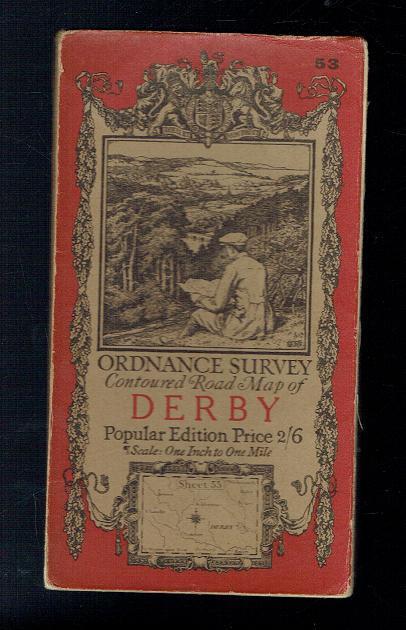 Ordnance Survey Contoured Road Map of Derby ...