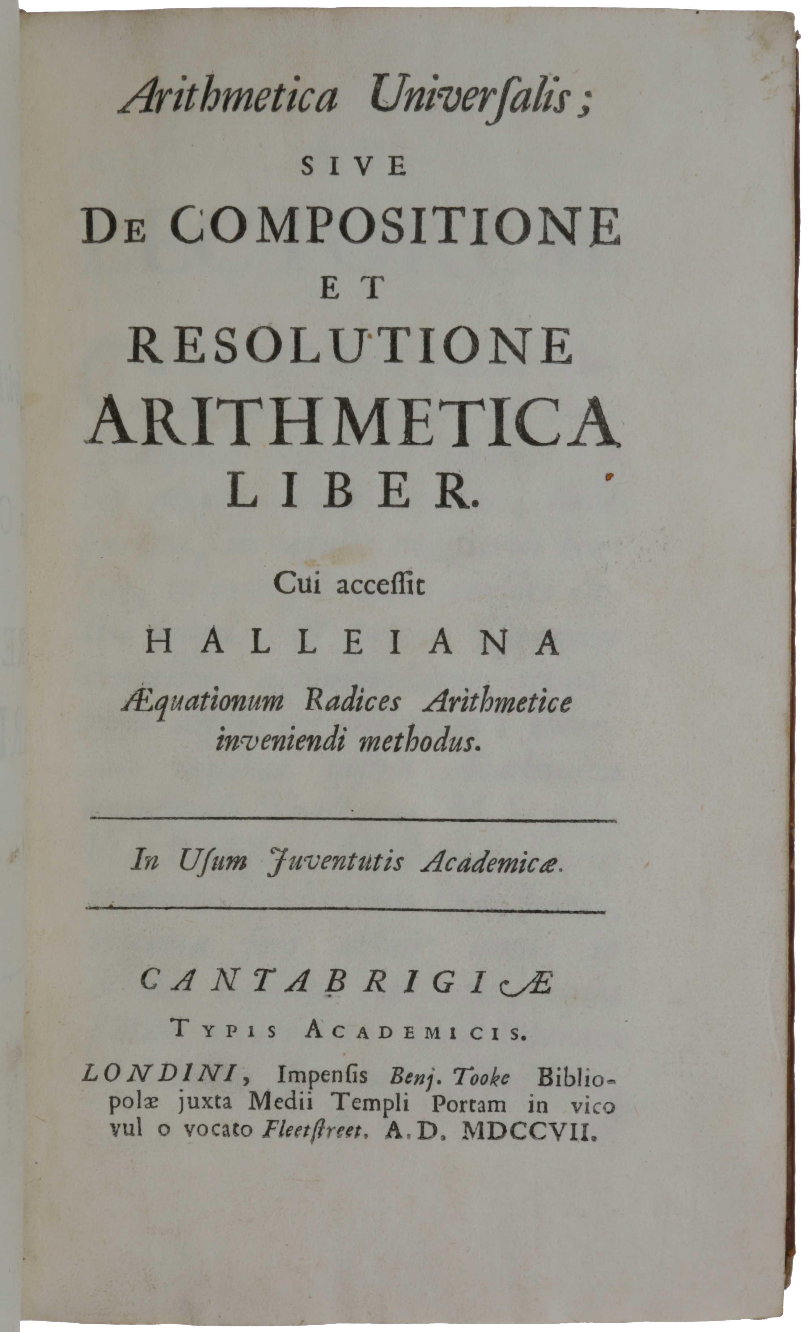 Arithmetica Universalis; sive ...