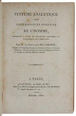 Système analytique des connaissances positives de l'homme: LAMARCK, Jean-Baptiste de.