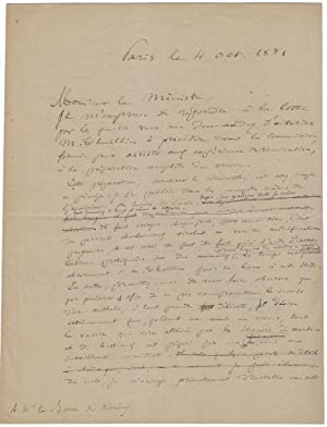 Signed autograph manuscript, being the original draft version with corrections, of a letter by Pa...