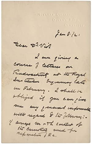 Autograph letter signed ?E Rutherford' to Charles Herman Viol, 8 January 1921. Three pages on two...