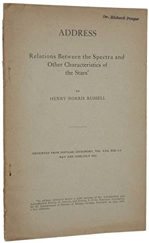 Relations Between the Spectra and Other Characteristics of the Stars. Offprint from Popular Astro...