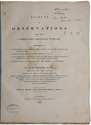 Account of observations made with a twenty-feet reflecting telescope: Comprehending, 1. Descripti...