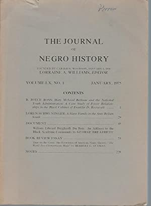 The Journal of Negro History: Volume LX,: Williams, Lorraine A.;