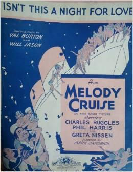 Isn't This a Night for love - Vintage Sheet Music from Melody Cruise
