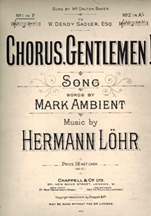Chorus Gentlemen ! Vintage Sheet Music as Sung By Mr Dalton Baker