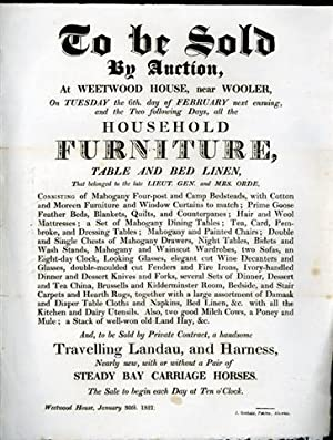 A large broadside notice for an auction on Tuesday 6th February 1821, at Weetwood House, near Woo...