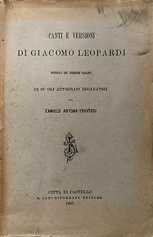CANTI E VERSIONI DI GIACOMO LEOPARDI, PUBLICATI: GIACOMO LEOPARDI, CAMILLO
