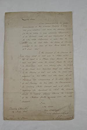 Manuscript letter, signed by Vansittart, to the Paymaster General of the Forces, requesting account...